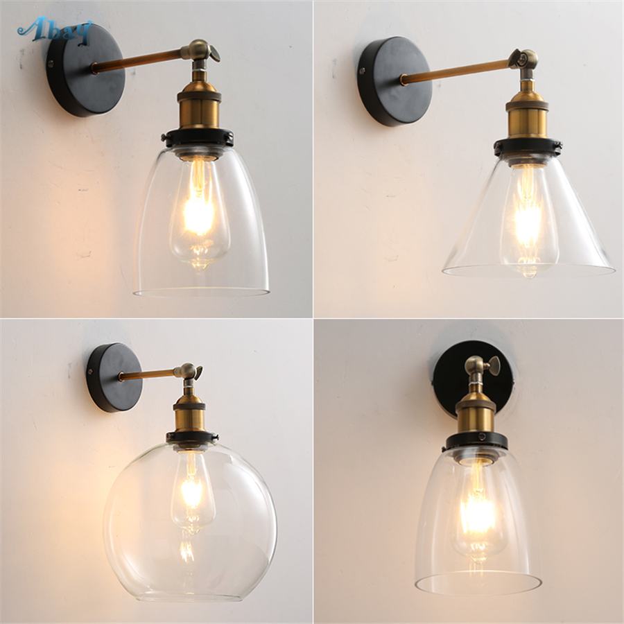 American Village Glass Wall Lamps for Kitchen Living Room Corridor Loft Decor Dining Room Lights Wall Sconce Light Fixture E27American Village Glass Wall Lamps for Kitchen Living Room Corridor Loft Decor Dining Room Lights Wall Sconce Light Fixture E27