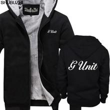 Sudaderas con capucha gruesas de invierno para hombre, nueva sudadera con capucha negra con Logo de Hip Hop G Unit 50 Cent, chaqueta de invierno S 5XL para hombre, abrigo sbz1465