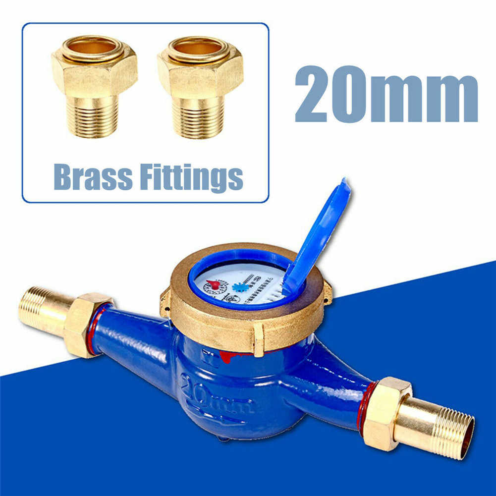 15mm/20mm Garden Home Brass Flow Measure Tape Cold Water Meter Counter Tools   ALI88