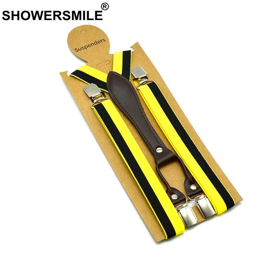 SHOWERSMILE Skinny Suspenders Women 2.5cm*120cm Unisex Suspenders Stripe 4 Clips Y Back Female Suspender Pants Yellow Red Blue