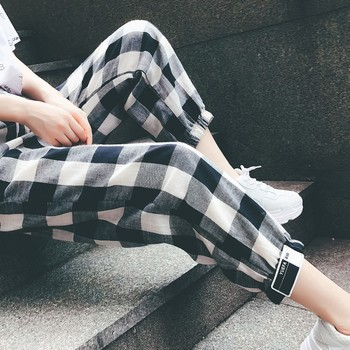 Fashion  Clothing Loose Ankle-Length Women Pants Woman Plaid Harem Pants Drawstring Girl Plus Size Mid Waist Bodycon Trousers 4