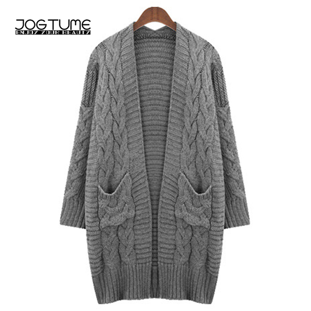 JOGTUME Oversized Wool Sweater Women Autumn Winter Gray Loose Long Sleeve Cardigan  Sweater Female Woolen Knitted 25194db2d