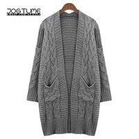 JOGTUME Oversized Wool Sweater Women Autumn Winter Gray Loose Long Sleeve Cardigan Sweater Female Woolen Knitted Jacket 4XL 5XL