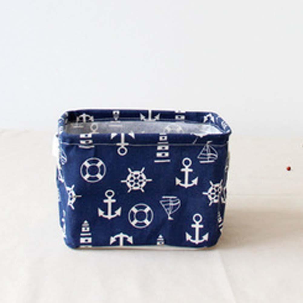 Navy Sea Style Clothes Fabric Organizer Home Storage Box Office Desk Organizer for Cosmetics