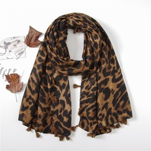 2018 Hot Sale Women Cotton Ombre Leopard Tassel Scarves Shawls Long Leopard Wrap