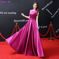 2018 New Arrival Rose Red Prom Dresses Satin Floor Length Elegant Sash With Bow Knot Front