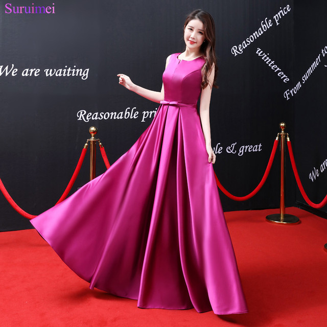 2018 New Arrival Rose Red Prom Dresses Satin Floor Length Elegant ...