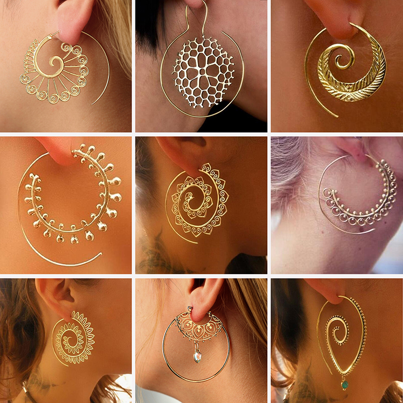 WKOUD Swirl Drop Earrings Gypsy Tribal Spiral Dangle Earrings Boho Earrings for Women Jewelry