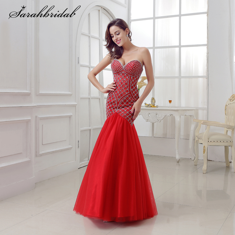 Sexy Ever Pretty   Prom     Dresses   Mermaid Sweetheart Lace-up Floor Length and Tulle Crystal Beading Vestido De Festa LSX285