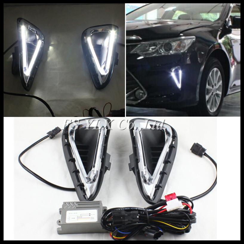 For Toyota Camry DRL LED Light conducting DRL fog lamps Car Styling LED daytime running lights for Toyota Camry 2014-2015 DRL high quality 2006 11 toyota camry daytime running light fog lights 2pcs set drl led car fog lights germany osram chips