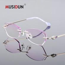 Diamond Trimmed Cutting Glasses Woman Titanium Rimless Eyeglasses Female Luxury brand Optical reading Prescription Q118