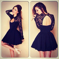 2016 Spring Women Fashion Lace Dresses Long Sleeve Hollow Out Black Summer Casual Dresses Vestidos Renda De Festa Femininos