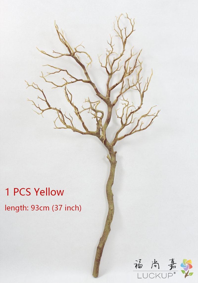 1 шт. высота 70 см или 90 см Искусственный зеленый синий белый пластик маленькое дерево высушенная ветка растение дома свадебное украшение подарок F322 - Цвет: Yellow 93cm