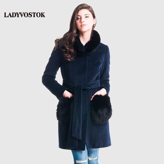 LADYVOSTOK Зимнее пальто натуральный мех кашемировое пальто воротник из меха песца женское пальто одежда для женщин пальто зимнее женское парка зимняя женская женские пальто высокое качество женская парка песец