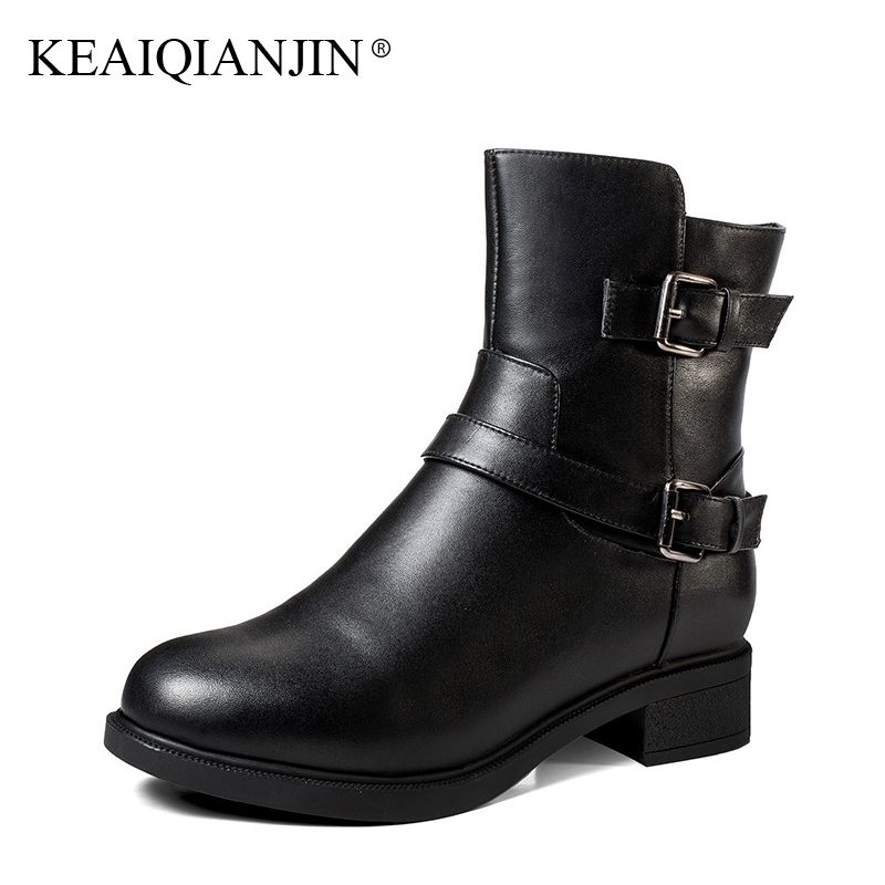 KEAIQIANJIN Woman Winter Wool Martins Botas Buckle Genuine Leather Shearling Chelsea Boots Black Fashion Wool Snow