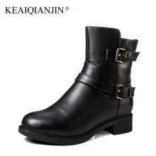 KEAIQIANJIN Woman Winter Wool Martins Botas Buckle Genuine Leather Shearling Chelsea Boots Black Fashion Wool Snow Biker Boots