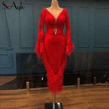 SoAyle 豪華な赤のイブニングドレス 2018 V ネック長袖 Vestidos デ · フェスタロンゴ羽ビーズファッションウエディングドレス