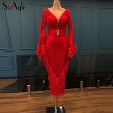 SoAyle Lüks Kırmızı Abiye 2018 V boyun Uzun Kollu Vestidos de festa longo Tüyleri Boncuk Moda balo kıyafetleri