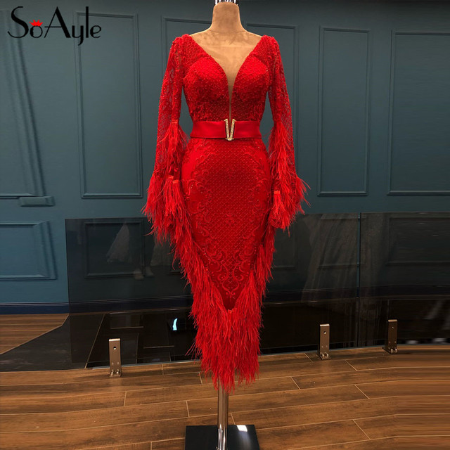 SoAyle Luxurious Red Evening Dresses 2018 V neck  Long Sleeves Vestidos de festa longo Feathers Beading Fashion Prom Dresses