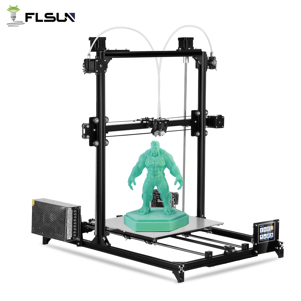 Flsun 3D Imprimante Kit Grande Zone D'impression 300*300*420mm Double Extrudeuse Écran Tactile Auto Nivellement 3D-Printer avec Chauffée Lit