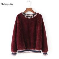 SheMujerSky Red Velvet Hoodies Women Sweatshirt Black O Neck truien dames sweat femme 2017 Fashion Ladies