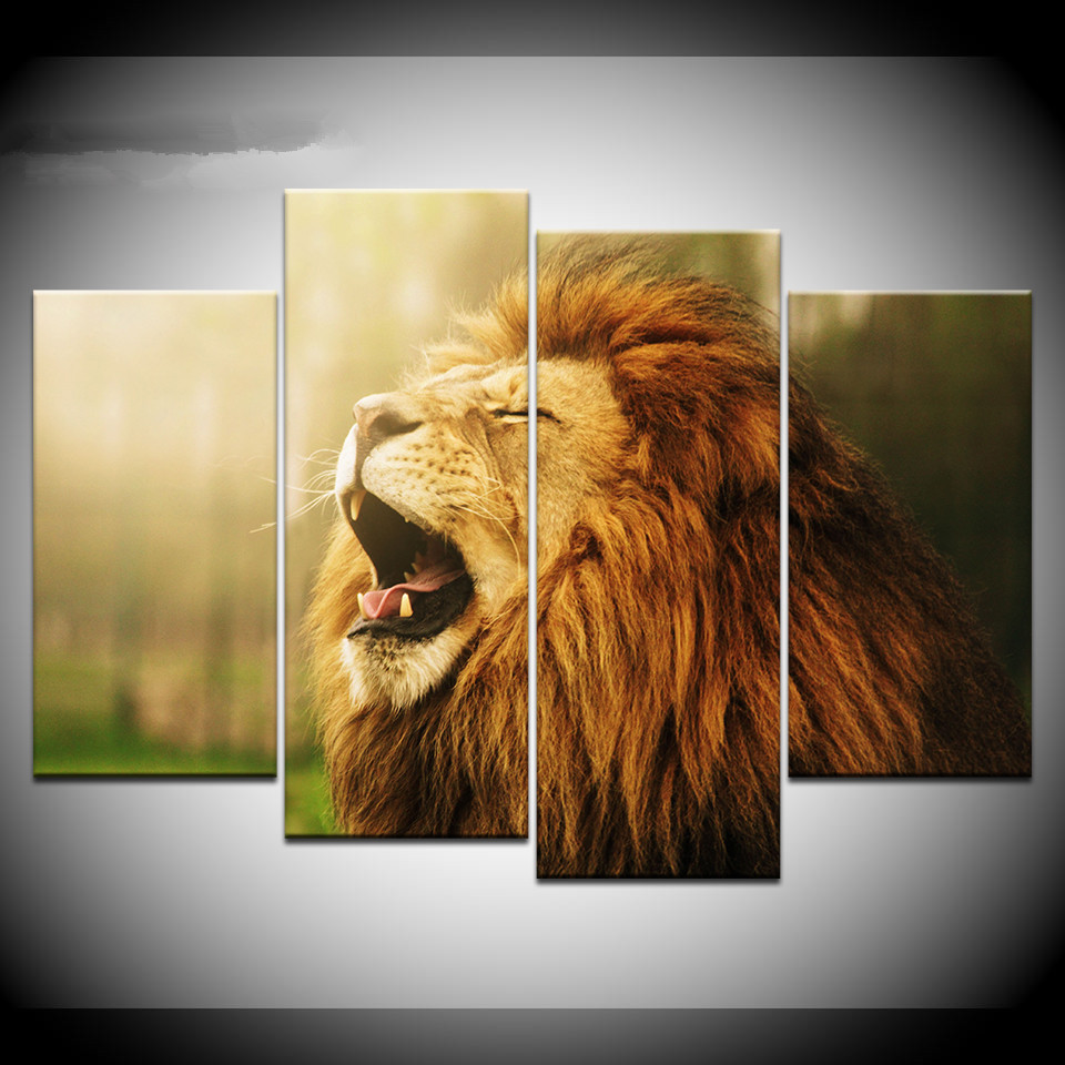 ROARING AFRICAN LION CANVAS PRINT PICTURE WALL ART HOME DECOR FREE DELIVERY