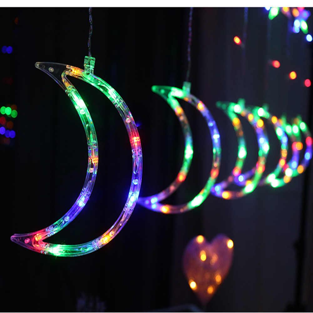 Луна Звезда лампа Светодиодная лента Ins украшение Рождественские Огни Праздник световая завеса лампа Свадьба неоновый фонарь 220 в сказочный свет