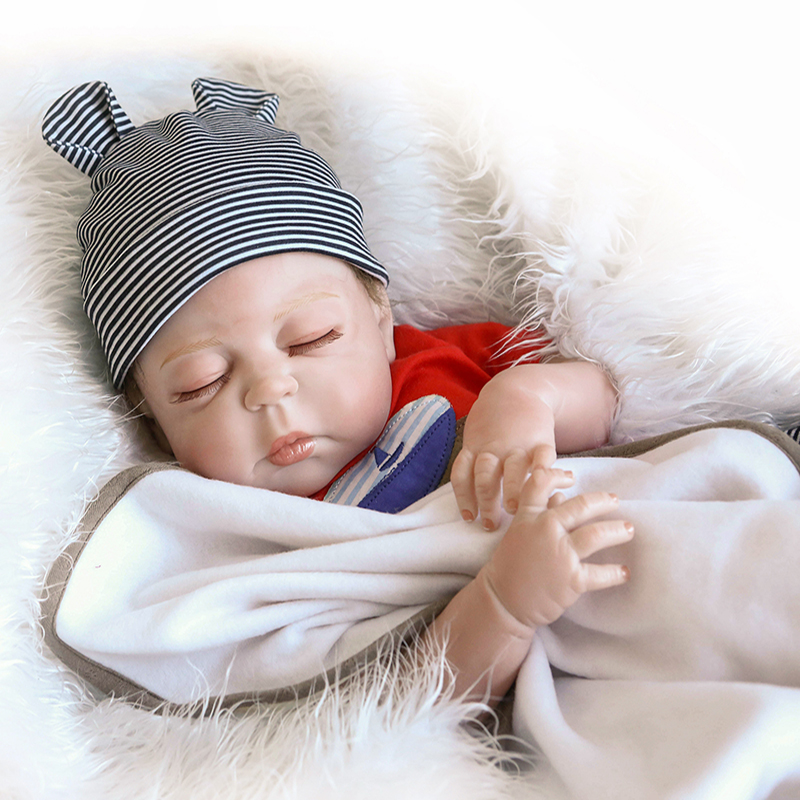 55cm NPK Reborn Baby Dolls Sleeping Angel Whole Silicone Dolls Lifelike Baby Doll For Girls Soft