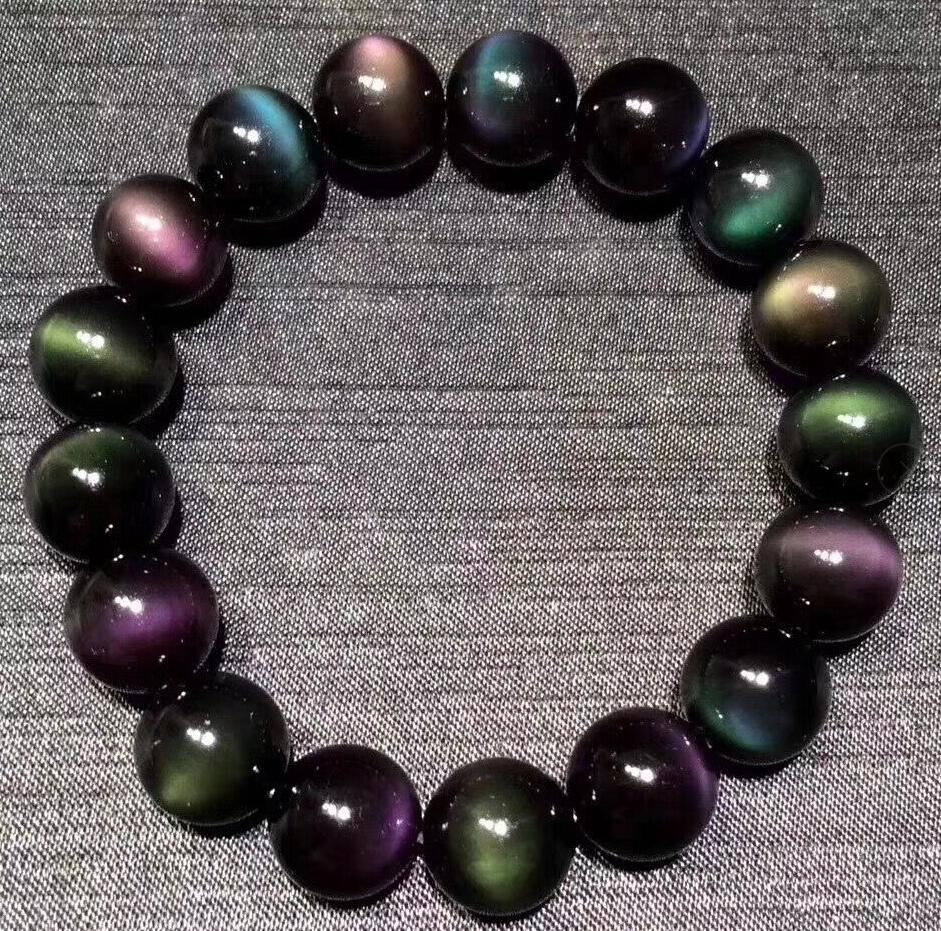 Free shipping FREE shipping >>NICE 12mm mix 100% Natural Mexican Rainbow Obsidian Bead Bracelet цена и фото