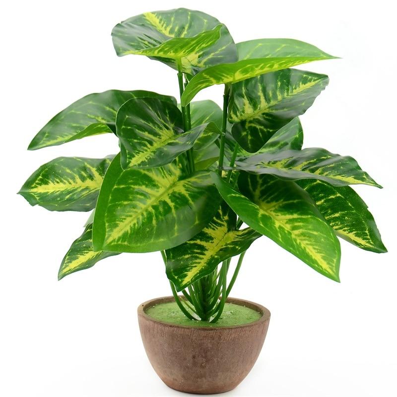 1Bunch 28CM/48CM  Artificial Silk Green Scindapsus Aureus Leaf For Wedding Decorations Fake Bonsai Tree Plant  Accessories