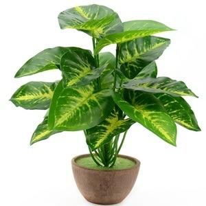 Image 1 - 1Bunch 28CM/48CM  Artificial Silk Green Scindapsus Aureus Leaf for Wedding Decorations Fake Bonsai Tree Plant  Accessories