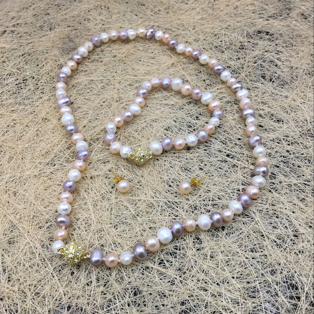 Jewelry Sets 100% Real 7-8mm White Yellow Purple Sea South Pearl Necklace Bracelet Earrings Natural Stone 18'' Wholesale Price