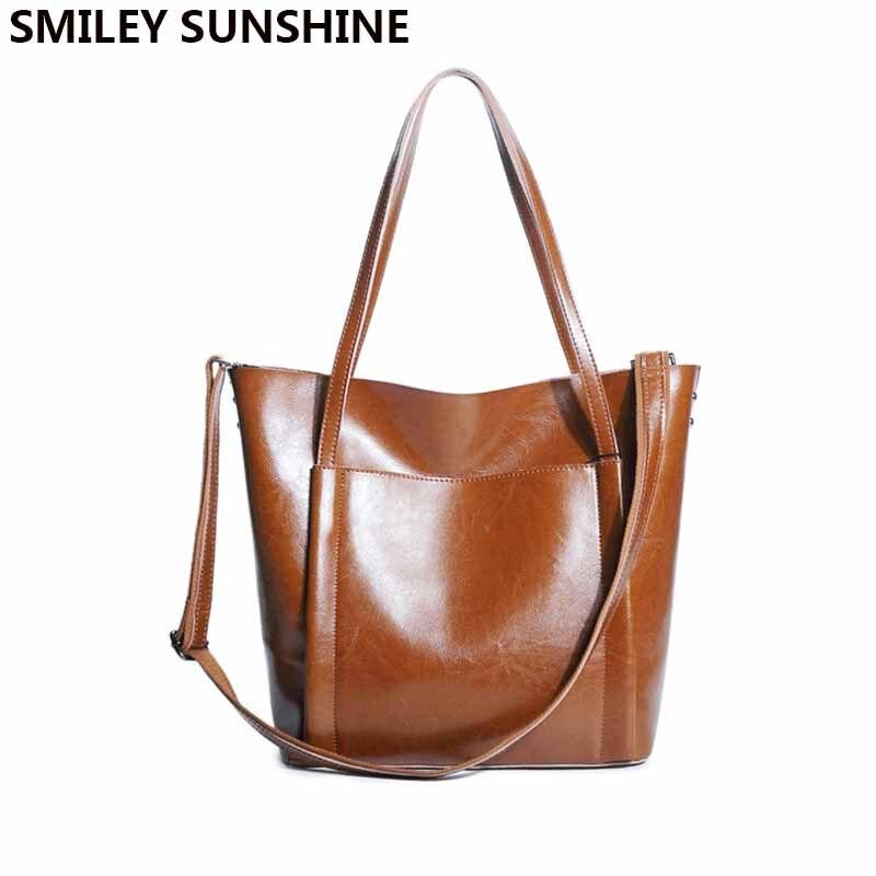 SMILEY SUNSHINE big female genuine leather shoulder bag for women handbag ladies fashion purses and handbags
