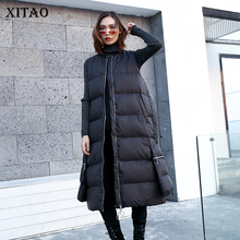 [XITAO] Korea Fashion New Women 2018 Autumn Mandarin Collar Sleeveless Vest Female Solid Color Pocket Casual Thick Vest LJT4556