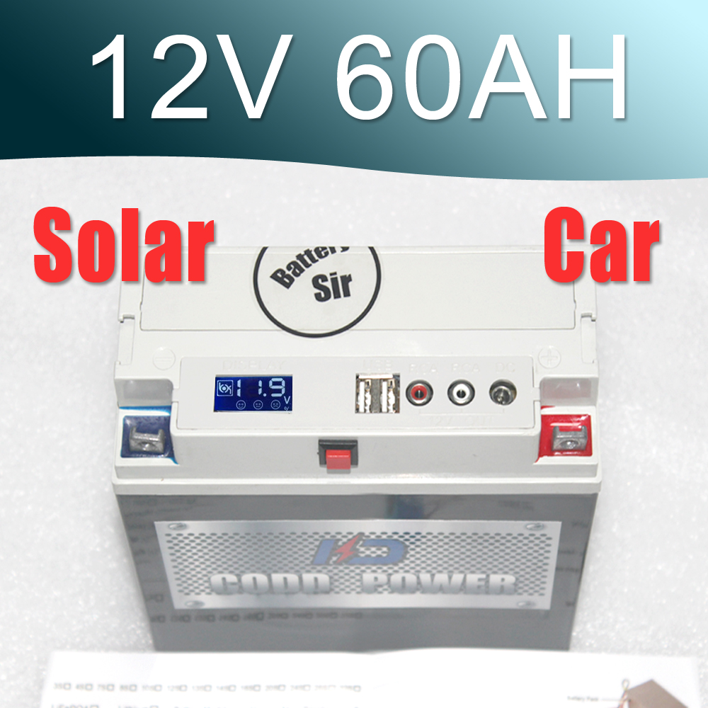 12V lithium ion solar motorcycle jump starter 60AH lithium ion battery Multi function solar lithium battery 12v 200ah sufficient capacity competitive price lithium ion battery for solar energy solution solar system