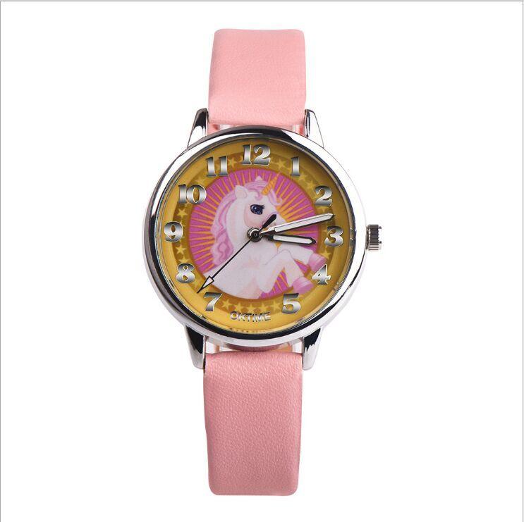 2018 Fashion Girl Boy Unicorn Watch Analog Display Faux Leather Quartz Wrist Watch Xmas Gift Students Birthday Gift