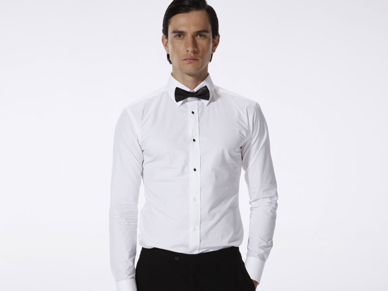 Hot sale cotton men shirt custom made wedding shirt white for Black tuxedo shirt for men
