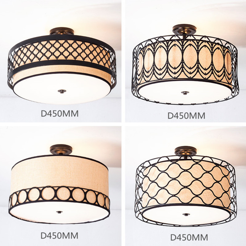 American Style Dining Room Fabric Ceiling Light Nordic LED Art Bedroom Half Ceiling Light Study Light D450MM Free Shipping free shipping led european style ceiling light 10w 220v anti glare led meeting room offices hotels homelighting