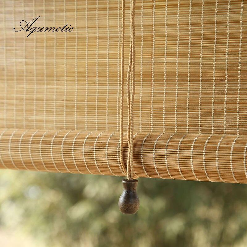 Aqumotic manuel bambou rideau chambre cloison écran porte fenêtre douche taille personnalisée Sushi lieu décor suspendu bois naturel