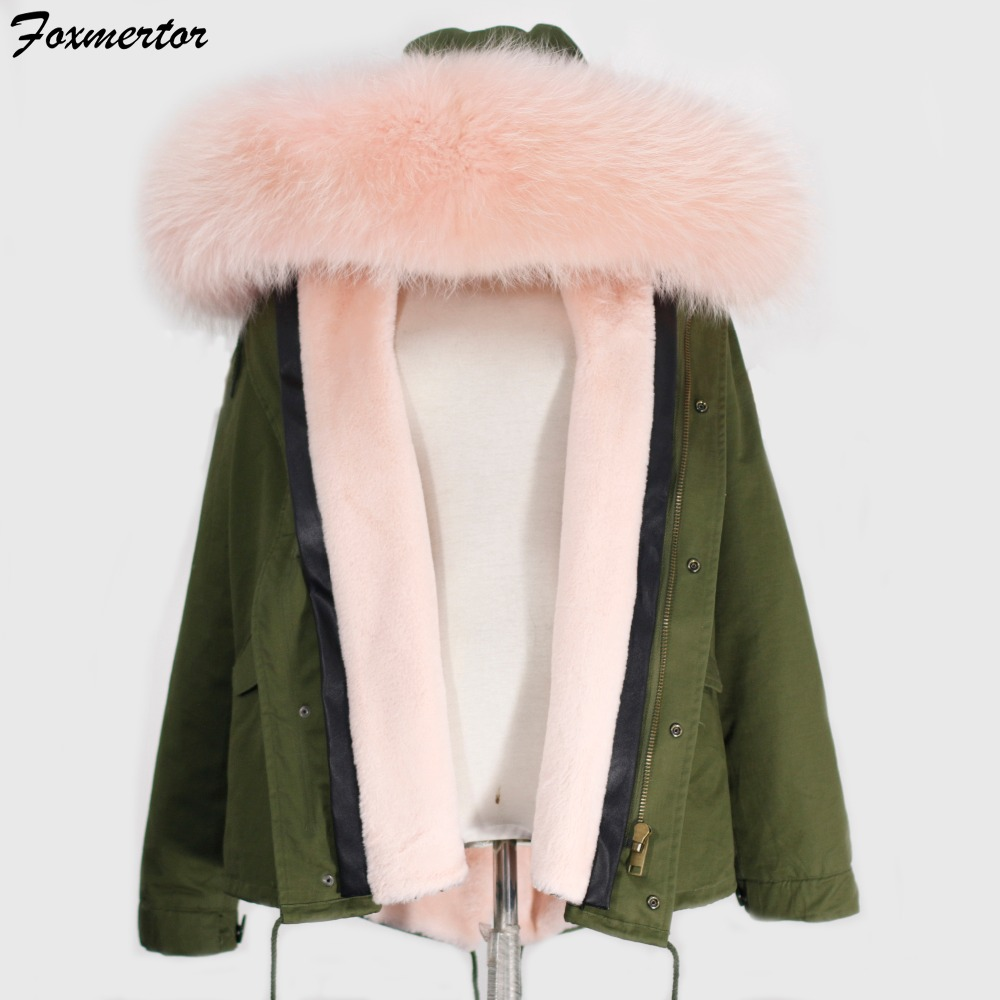 Foxmertor 2016 Winter Jacket Real Raccoon Fur Collar Women Parkas Ladies Jackets and Coats Thick Cotton Padded Lining Army #F209