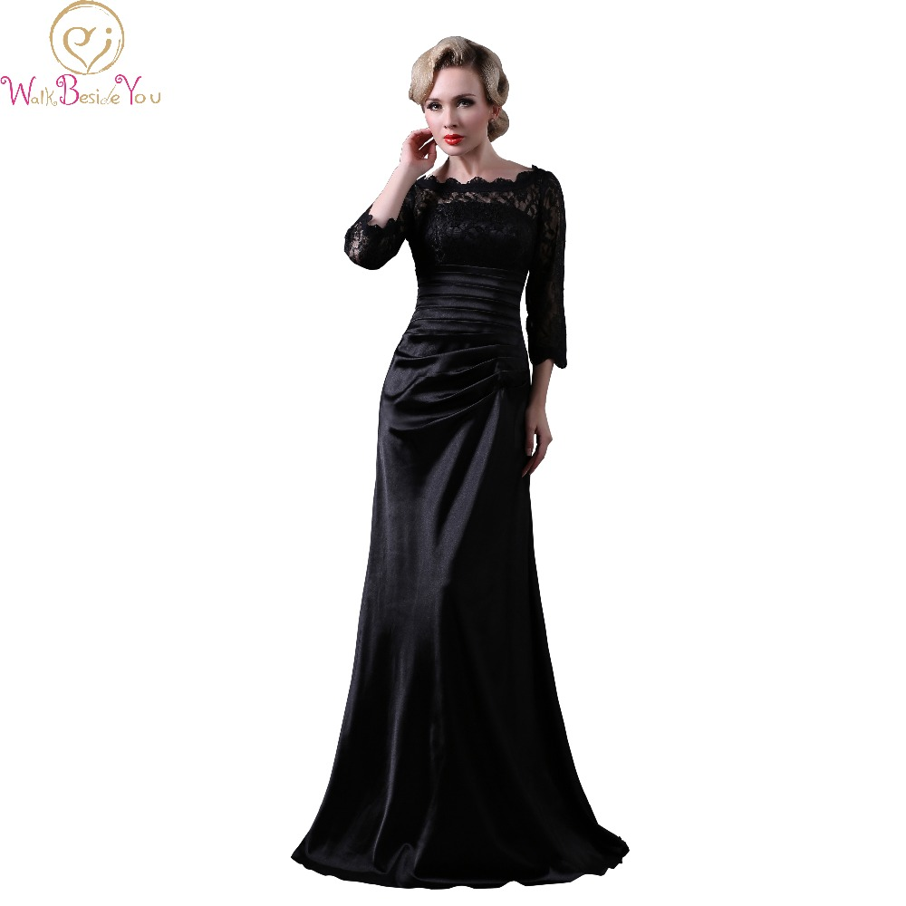 Walk Beside You Real Picture Black Lace Satin Evening Dresses 3 4 Sleeves Mermaid Long Formal