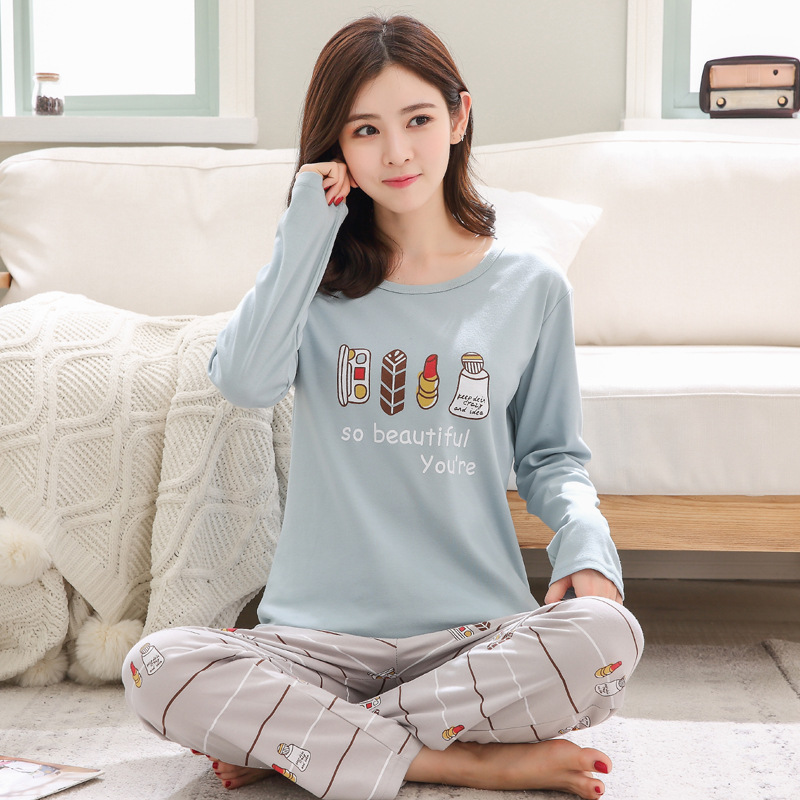 2019 Women Pajamas Sets Autumn Winter New Women Pyjamas Cotton Clothing Long Tops Set Female Pyjamas Sets NightSuit Mother Sleep 89