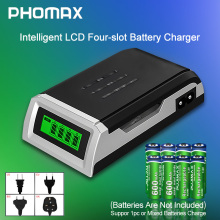 цена на PHOMAX  LCD-002 LCD Household Display With 4 Slots Smart Intelligent Battery Charger For AA/AAA NiCd NiMh Rechargeable Batteries