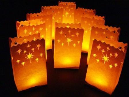 20 Night Stars White Candle Bag Lantern Garden Party Path Deck Balconey Luminara Luminarie Wedding Light Decorations In Gift Bags Wring Supplies