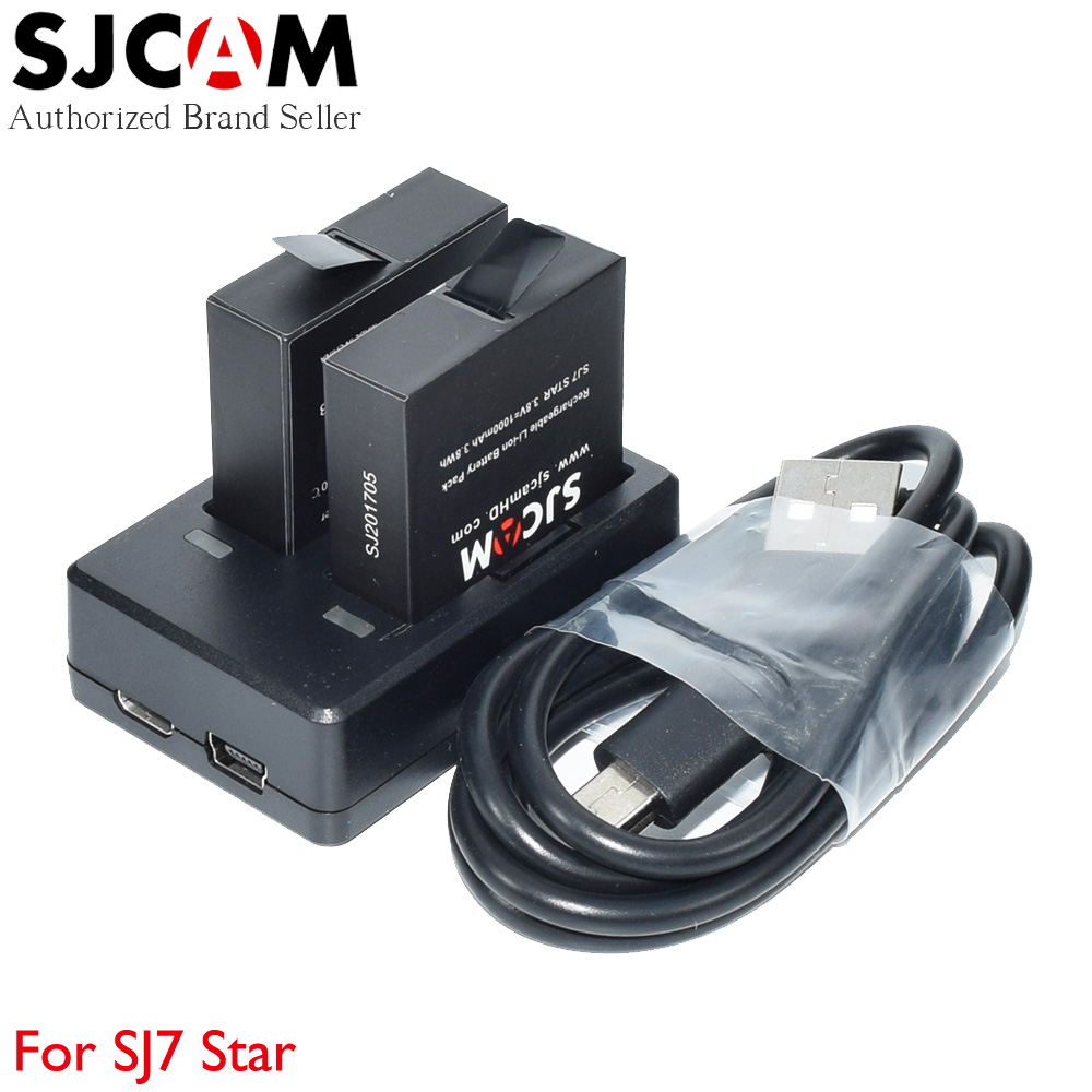 Original SJCAM SJ7 Star Accessories 1000mAh Li-ion Rechargeable Batteries and Dual Ports Charger for SJ 7 Sport Action Camera original sjcam car charger microphone remote watch monopod motorcycle waterproof case dual charger for sj sj7 star action camera
