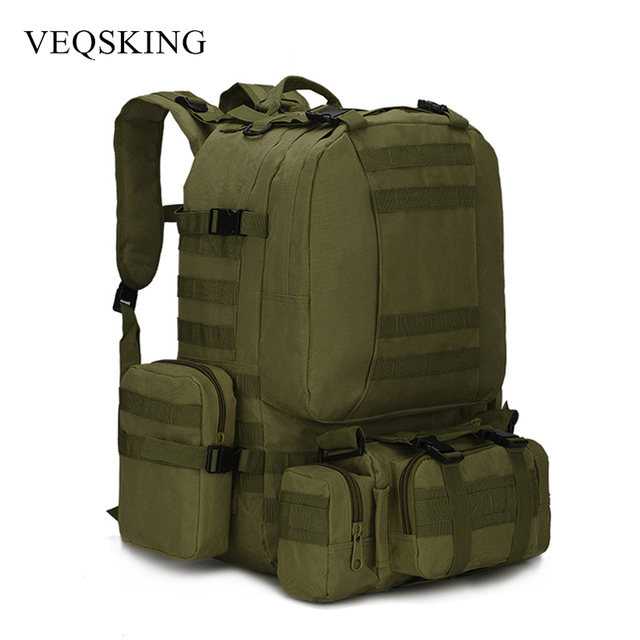 Multifunctional 50L Military Tactical Bag, Hiking Camping Camouflage Backpack,Outdoor Waterproof Climbing Sport Bag