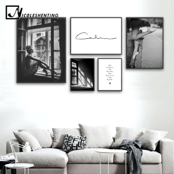Abstract Art Canvas Fashion Poster Black White Wall Painting Print Nordic Decoration Picture Living Room Scandinavian Home Decor scandinavian pink swan sea canvas poster abstract wall art print motivation painting nordic decoration picture living room decor