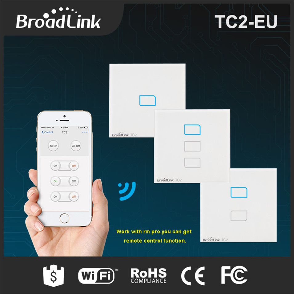 Broadlink TC2 1 Gang + 2 Gang +3 Gang Smart Home Automation Wireless Wifi Remote Control Wall Light Touch Switch Luxury EU Type купить