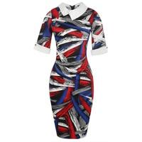 Plaid Vintage Dress Bandage Evening Party Pencil Elegant Black Red Patchwork Plus Size Dress Retro Sheath