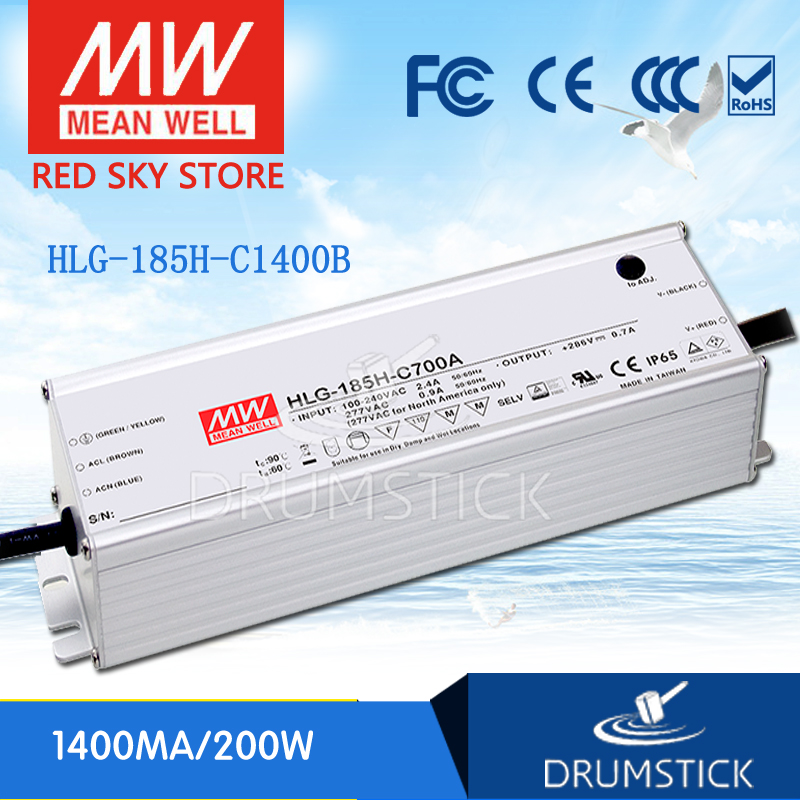 MEAN WELL original HLG-185H-C1400B 71V ~ 143V 1400mA meanwell HLG-185H-C 200.2W LED Driver Power Supply B TypeMEAN WELL original HLG-185H-C1400B 71V ~ 143V 1400mA meanwell HLG-185H-C 200.2W LED Driver Power Supply B Type